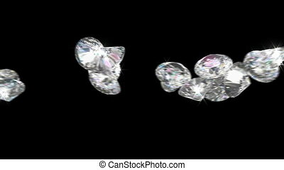 Large diamonds or gems rolling over