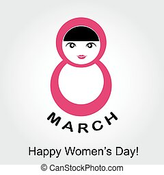 Large digit 8 with a woman- graphic for international womens day