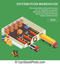 Large distribution warehouse with workers loading or unloading to trucks. Isometric industrial building. Colored in volumetric style vector illustration