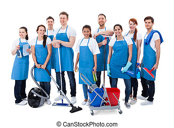 Large diverse group of janitors with equipment - Large...