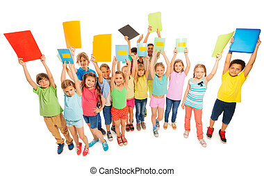Large diverse group of kids lifting up textbooks