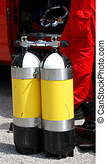 diving cylinders used by fire department divers group -...