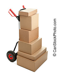 Large dolly with brown shipping boxes isolated on white ...