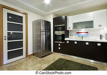large, domestical, porte, cuisine