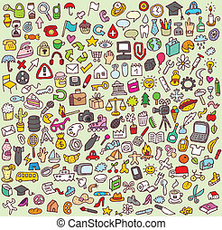 Large Doodle Icons Set - Doodle Icons Set is a collection of...