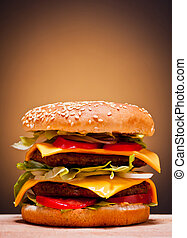large double burger closeup fast food