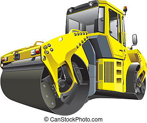 Detailed vectorial image of large yellow roller, isolated on white background. File contains gradients. No strokes and blends.
