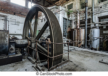 large drive wheel in factory