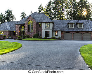 Large driveway to home - Driveway to large brick and cedar...