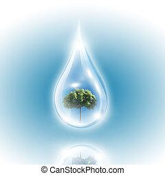 Large drops of green tree inside. Symbol of environmental...