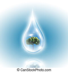 Large drops of green tree inside. Symbol of environmental...