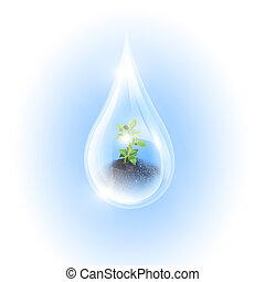 Large drops of green tree inside