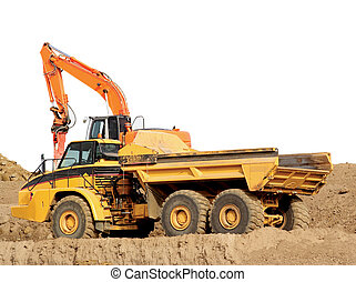 Large dump truck with white background