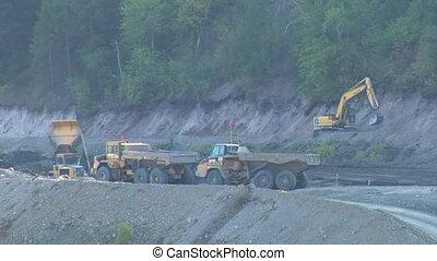 large dump trucks with excavator