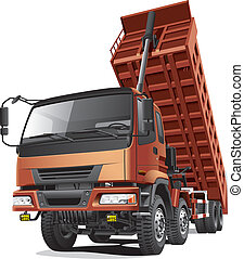 Detailed vector image of large eight-wheel dump truck with overturned body, isolated on white background. File contains gradients and transparency (headlights). No blends and strokes.