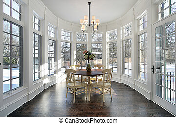 Large eating area with wall of windows in luxury home