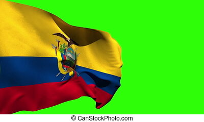 Large ecuador national flag blowing on green screen...