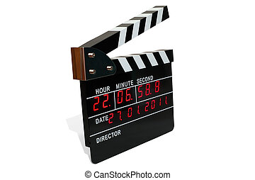 Large electronic clapperboard with light-pipe timer
