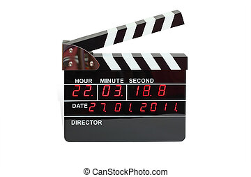 Large electronic clapperboard with timer of time and calendar