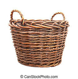 large empty basket for harvesting fruit or grapes isolated on white