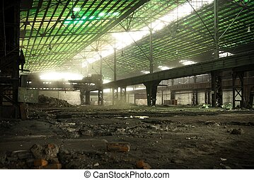 Large empty hall with concrete walls