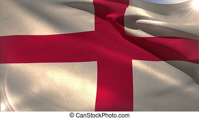 Large england national flag waving