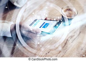 large, envoi, smartphone, réseau, mondiale, icônes, générique, main., horizontal, haut, effects., visuel, conception, femme, interface., écran, fin, message, tenue