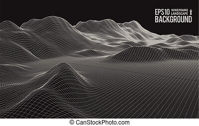 large, eps10, wireframe, terrain, vecteur, angle, 3d