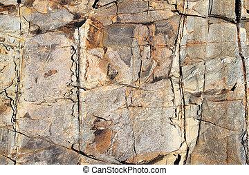 Large eroding rock face close up.