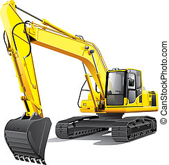 large excavator - detailed vectorial image of large yellow ...