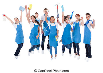 Large excited group of diverse janitors
