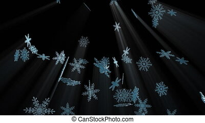 Large falling crystal snowflakes, computer generated. 3d rendering winter backdrop