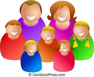large family - couple with five kids