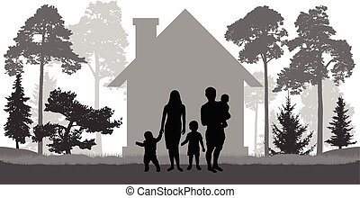 Large family (man, woman and three children) is near the house in nature. Vector