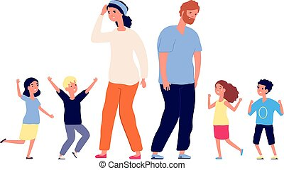 Large family. Tired parents, happy excited children. Mother father stand with teenagers. Vector parenting, big group toddlers illustration