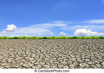 Large field of baked earth after a long drought - Large...