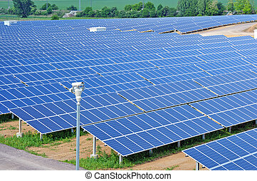 Large field of solar panels.