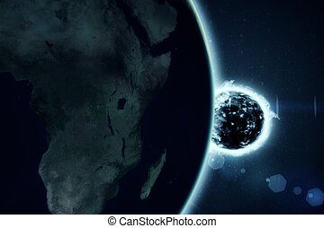 Large fire ball of the sun with earth
