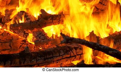 Large Fire Burning at Night