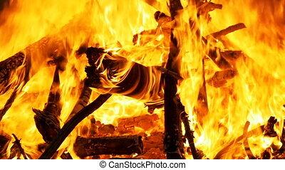 Large Fire Burning at Night. Slow Motion