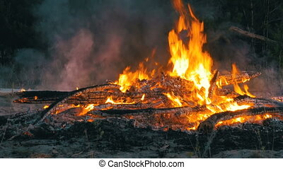 Large Fire Burning at Night - Large fire brightly burning at...