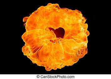 Large fireball on black background