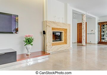 Large fireplace in posh villa - Picture of large fireplace...