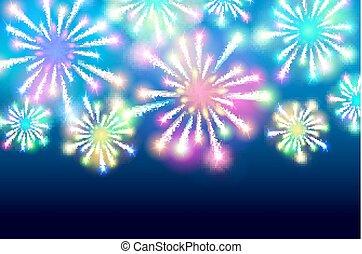 Large Fireworks Display - vector illustration background