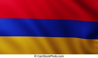 Large Flag of Armenia fullscreen background fluttering in the wind with wave patterns