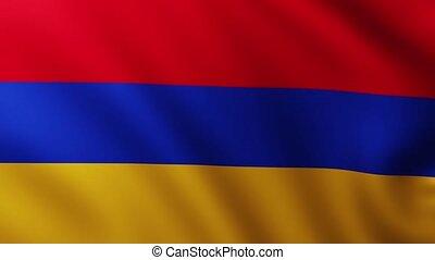 Large Flag of Armenia fullscreen background fluttering in ...