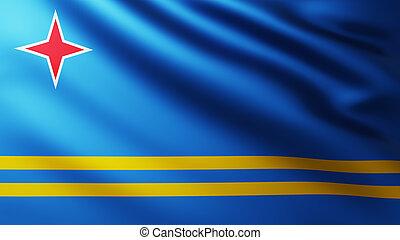 Large Flag of Aruba Island fullscreen background in the wind