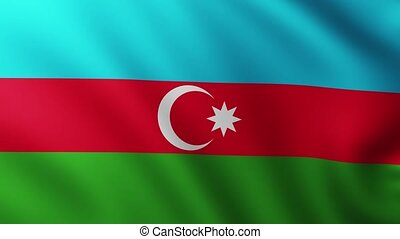 Large Flag of Azerbaijan fullscreen background fluttering in the wind with wave patterns