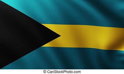 Large Flag of Bahamas background fluttering in the wind with wave patterns