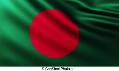 Large Flag of Bangladesh fullscreen background fluttering in the wind with wave patterns
